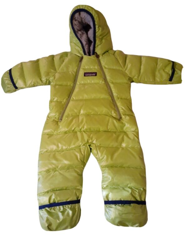 Patagonia Infant Puffer Bunting Size 0-3 Months Snowsuit Green Hooded !