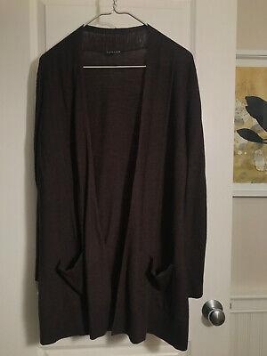 Eileen Fisher 100% Merino Wool Open Front Knit Cardigan Sweater -- Size S
