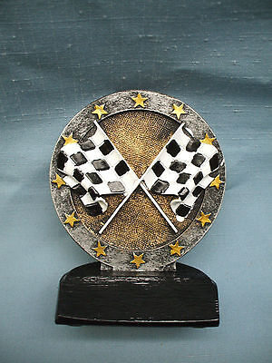 checkered racing flag resin trophy R619