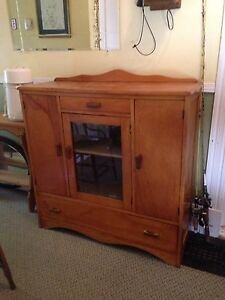 "Antique Pine Hutch/Cabinet, 42"" x 15"" x 44"""