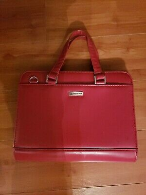 Franklin Covey Red Leather Quest Binder Organizer Planner Zip Up Satchel Purse