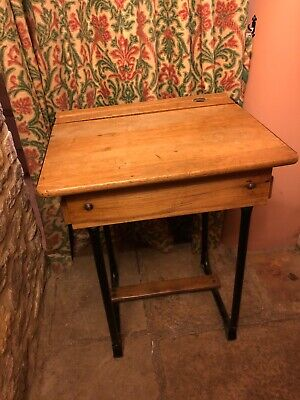 Antique 1940 Child's Oak school desk in original condition with adjustable lid