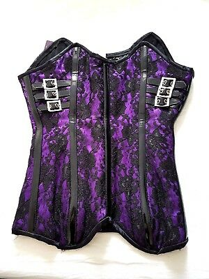 SACRIFICE black and purple corset w pvc detail Vegan WITCHFEST Party halloween S