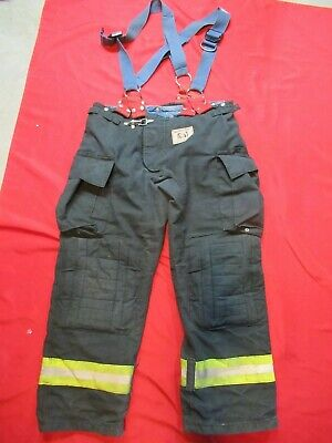 Morning Pride Fire Fighter Turnout Pants 40 X 33 Black Bunker Gear Suspenders