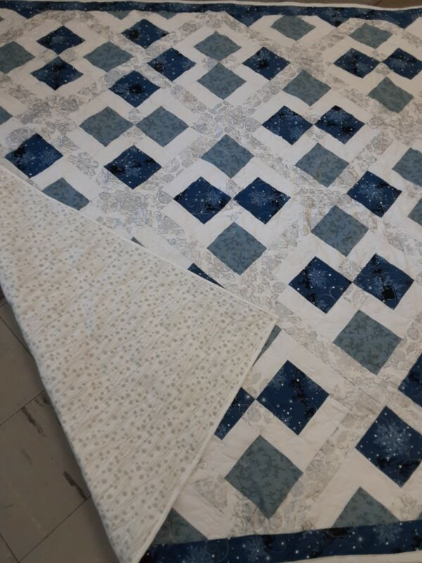 HANDMADE BLUE/WHITE PIECED CHRISTMAS QUILT PROFESSIONALLY QUILTED