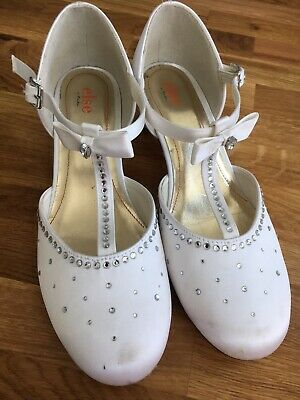 Beautiful Communion Bridesmaid Satin Diamante Shoes White Size 3