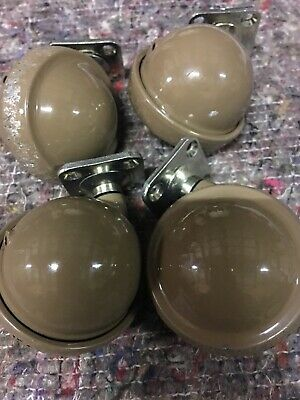 Vintage Cast Iron Ball Shaped Castors, General move castors x4, with screws.