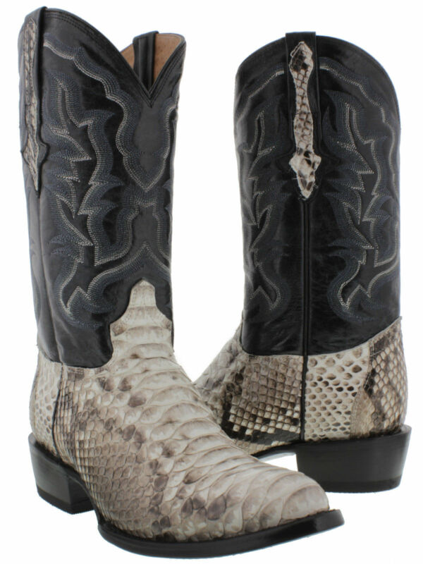 mens, real, python, snake, skin, genuine, leather, cowboy, boots, rodeo, western, round