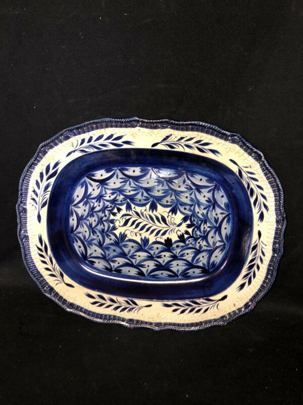 """16"""" Leeds Blue Feather Edge Flaral Decorated Platter"""