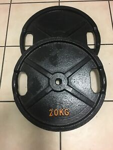 METAL WEIGHT PLATES 20KG X 2 WITH HANDLES
