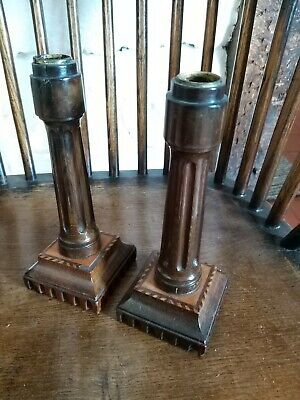 A Fine Pair Of Early 19th Century Treen Candlesticks Inlaid