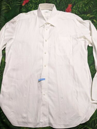 LUIGI BORRELLI WHITE FRENCH CUFF DRESS SHIRT 17-43 FRESH DRY CLEAN - $32.00