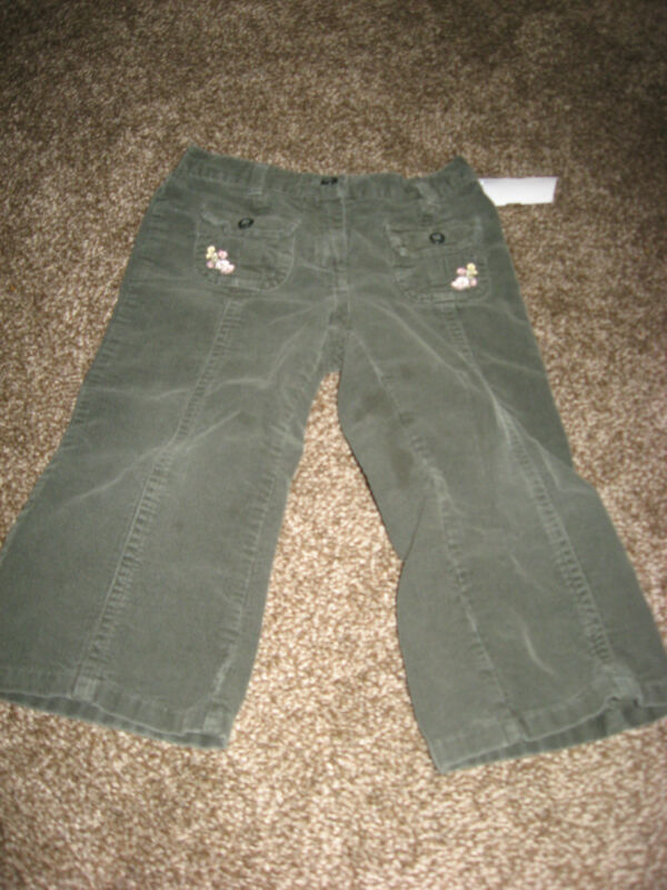 Janie and Jack Olive Green Corduroy Pants Flower Pockets GUC 18-24 months