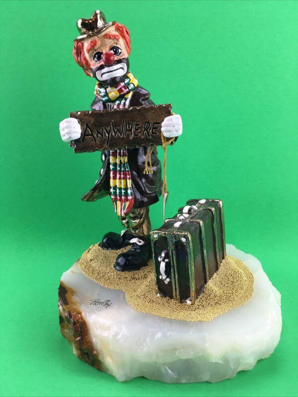 1984 Ron Lee Hobo Clown Hitchhiking Anywhere 24K Gold w/Onyx Base  B52