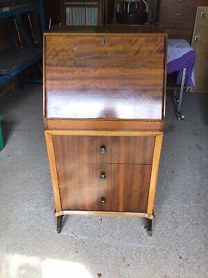 Vintage Bureau Desk Retro 1950s Walnut Veneer Drop Down Validity