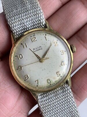 Vintage Avia Olympic Miliraty Ww2 Patina Swiss Made Men Watch Working