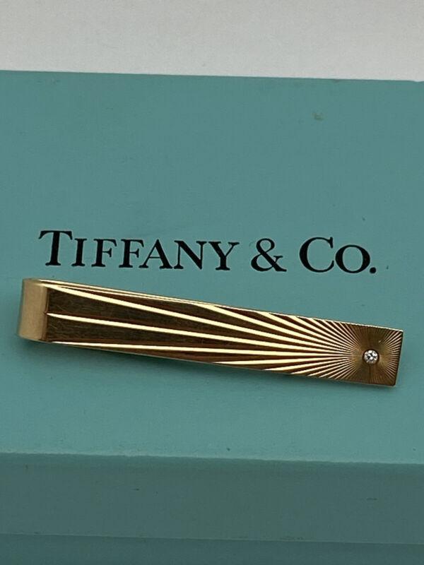 tiffany & co. 14k yellow gold diamond tie clip money clip