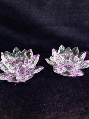 Pair of Handcut Crystal Lotus Candle Holders - Lilac Color