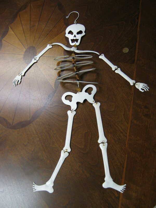 Vintage Halloween Skeleton Made of Metal with Reflective Glass 24 inches