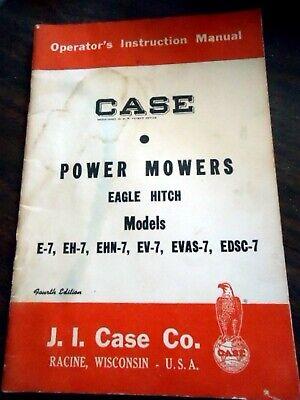 Case E7 Eh7 Ehn7 Ev7 Evas7 Edsc7 Power Mower Eagle Hitch Owners Operators Manual