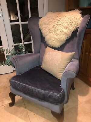 Vintage Retro Mid blue dralon Parker Knoll winged back armchair/fireside chair
