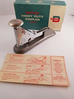 Vintage Bates H-30 Stapler Office Supplies Heavy Duty Usa