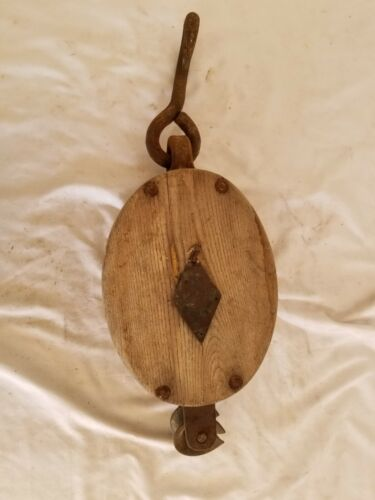 Antique Ship Wood Tackle Block,Pulley,Sheave,Iron Hook, Knowlton Bros Camden ME