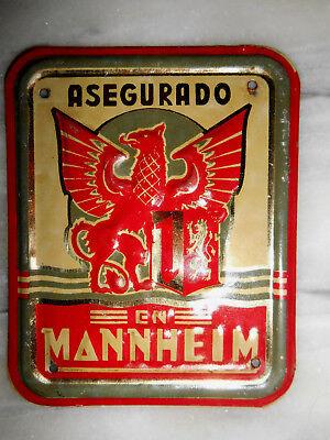 Mannheim en Asegurado Mannheimer Versicherung Blechschild ca. von 1930 geprägt