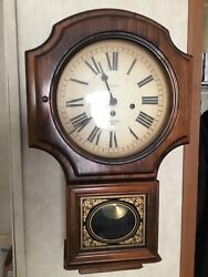 VERICHRON  Wall Clock Westminster Chime w/ Key Vintage  Wood Case Runs Perfect.
