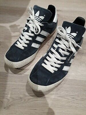Adidas Samba trainers, size UK 8 in blue suede