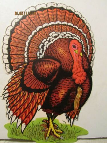 Vintage Thanksgiving Turkey Cardboard Die Cut Out Made by Beistle Co USA T-2