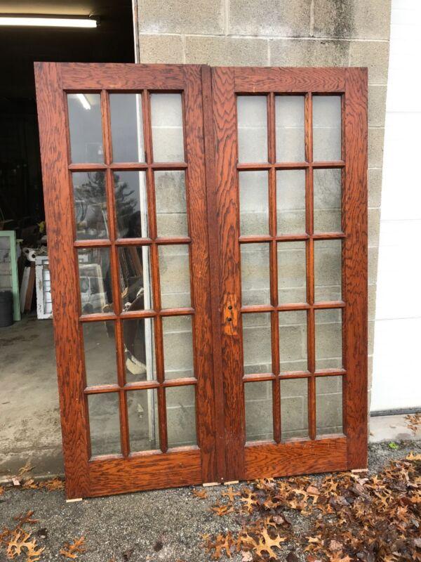 Mar 268 Match Pair Antique Oak Flat Glass French Doors 5' X 79.25