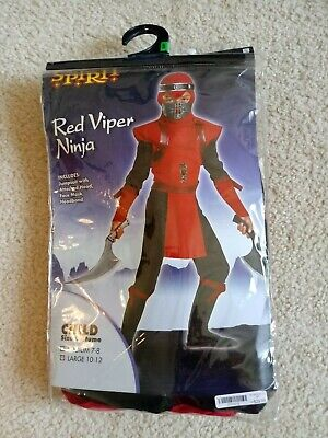 Shadow Ninjas Night Fury Red Viper Ninja Deluxe Boys Costume 10-12 - Red Viper Ninja Costume