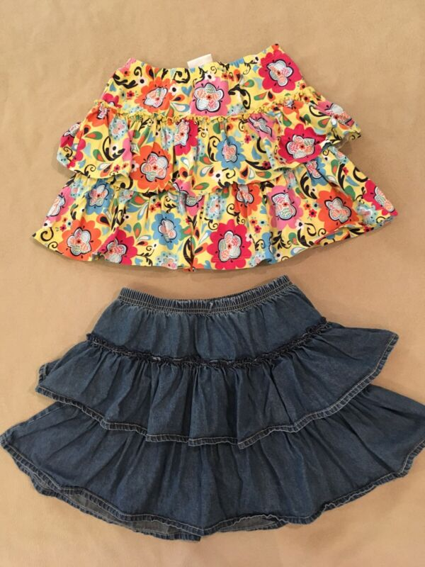 Hanna Andersson 140 Skooter Skort Lot Girls Yellow Floral Blue Jean