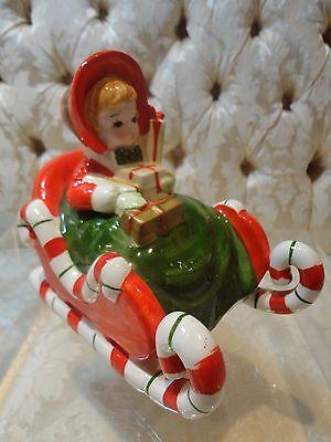 Lefton Christmas Shopper Girl In Candy Cane Sleigh MUSIC BOX Rare - $125.00