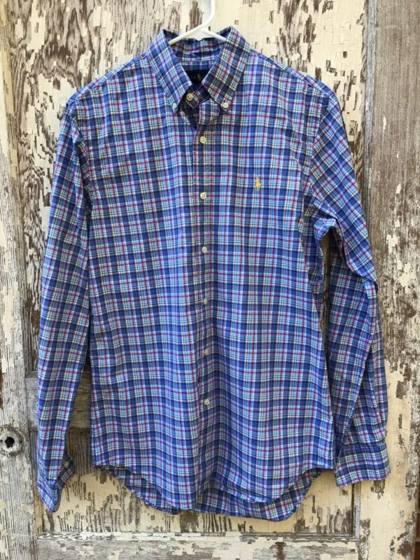 Ralph Lauren Mens Plaid Long Sleeve Button Down Shirt Size Small Gold Label