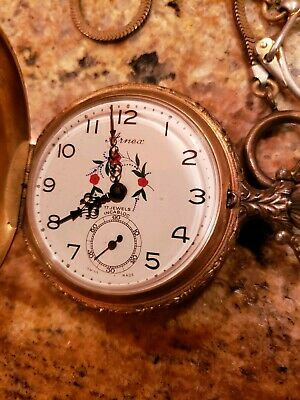 Vintage Horse Arnex 17 Jewel Incabloc Pocket Watch Swiss Made