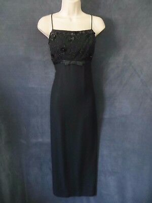 60's Vintage Jr. Theme Original Black Beaded Old Hollywood Sash Formal Dress - Old Hollywood Theme Dress