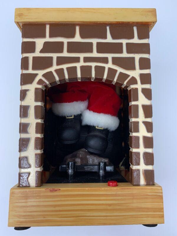 Gemmy FIREPLACE SANTA Stuck in Chimney Animated Talking Christmas **RARE**