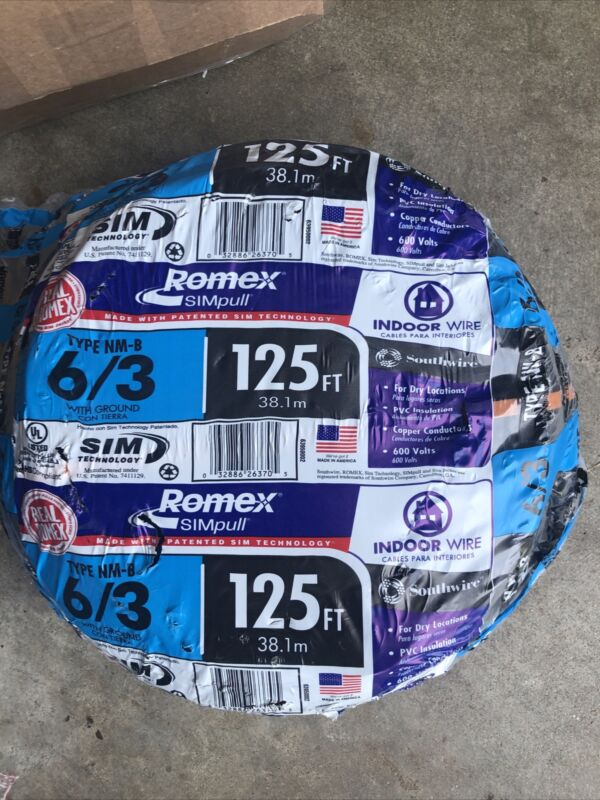 125 FT 6/3 NM-B W/GROUND ROMEX HOUSE WIRE/CABLE