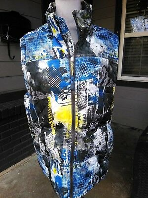 Men MED Xeroxposur Quilted Puffy Vest Zip Blue Yellow Abstract Print Jacket Coat Print Puffy Jacket