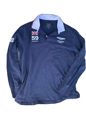 Hackett Aston Martin Racing Mens Long Sleeve Rugby Shirt Size XL Navy Blue