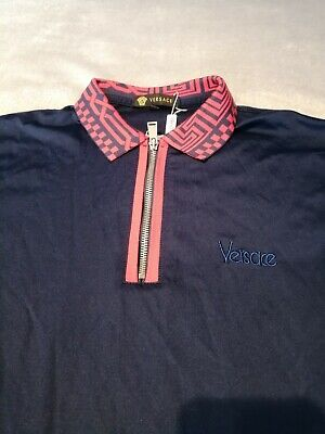 Versace polo shirt XL In Blue With Red Aztec Print On Collar