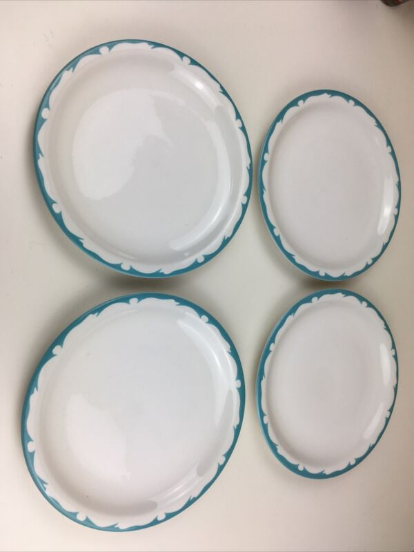 "Vtg Set 4 Buffalo China Restaurant Ware Scroll Aqua Turquoise 8.75"" Dinner Plate"