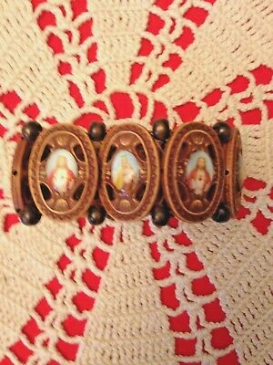 "Ornate Scapular Bracelet, Wood. Each Medallion 1-1/4""H Stretch 1 size fits all!"