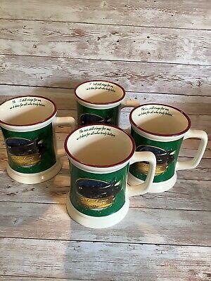 Polar Express Train Christmas Mug Cup Green Bell Still Rings..Believes Set Of 4