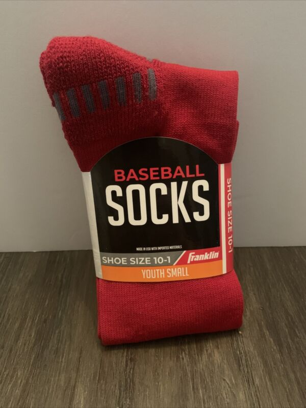 Franklin Sports Youth Baseball Socks RED Youth Small Shoe Size 10-1 NEW