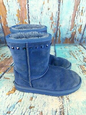 UGG Australia 1002902K Classic Kid's Short Stud Blue Suede Boots Youth Size: 2