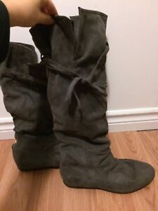 Grey suede boots from Aldo
