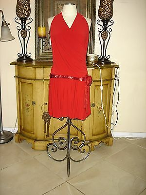 NEW Flapper Halter Windsor Designer Red Prom Party Formal Cheap low Dress Large - Flapper Dress Cheap